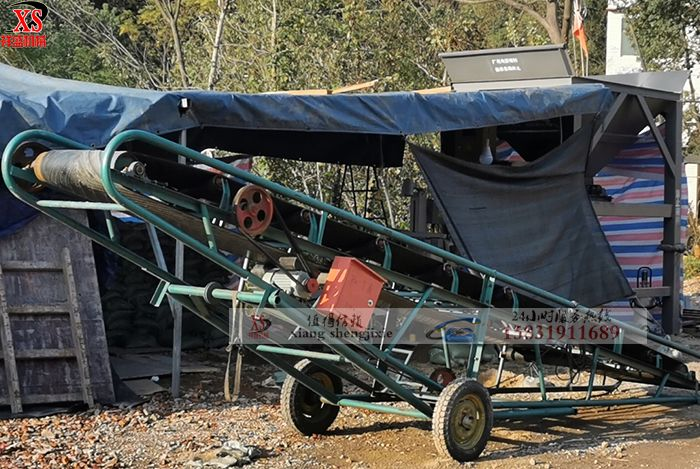 单仓装袋封口+5米输送带直接上车效果